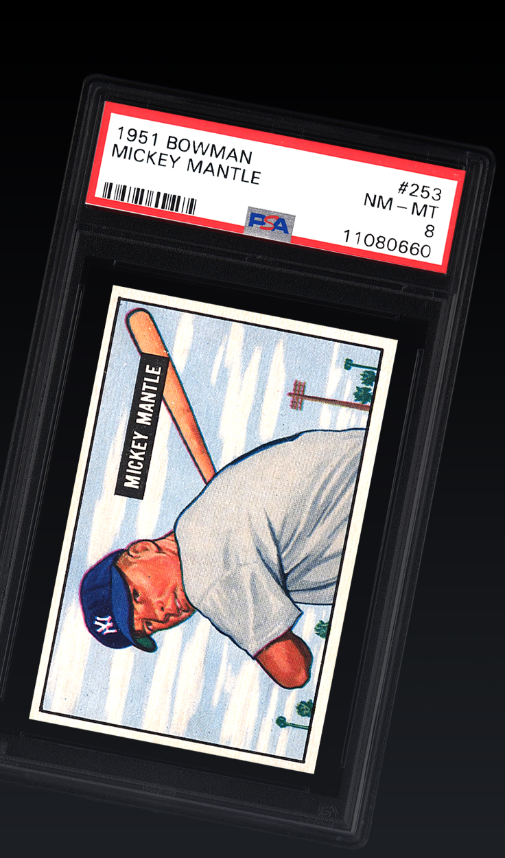 Mickey Mantle, 1951 Bowman PSA 8