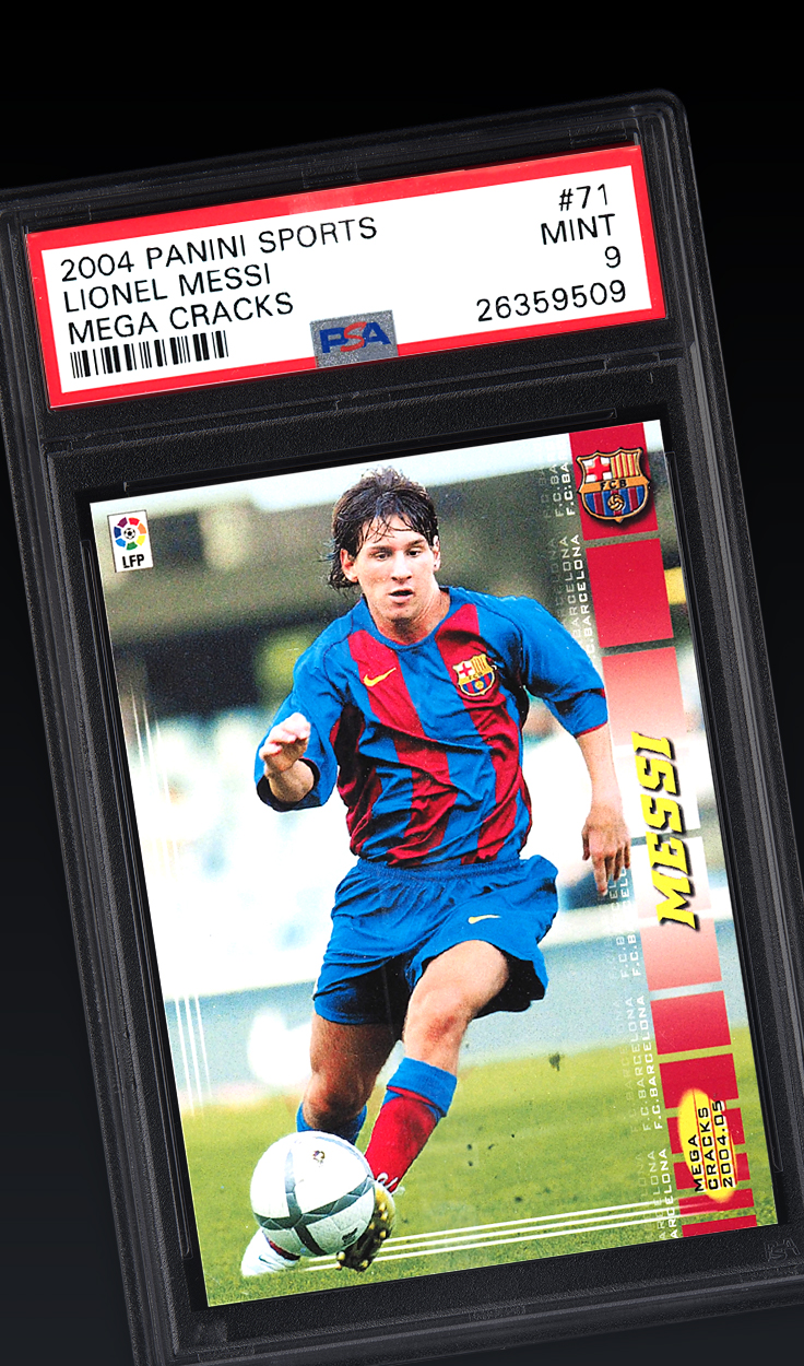 Lionel Messi, '04 Panini Sports Mega Cracks #71 PSA 9