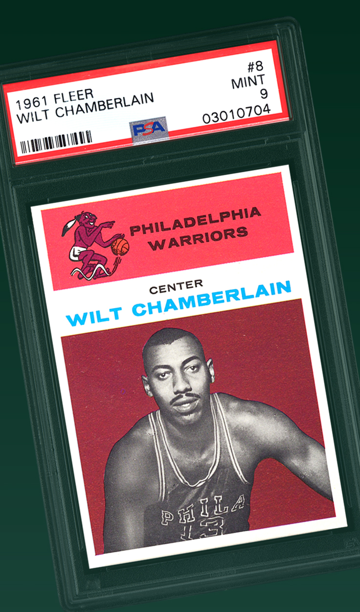 Wilt Chamberlain, 1961 Fleer Rookie Card PSA 9