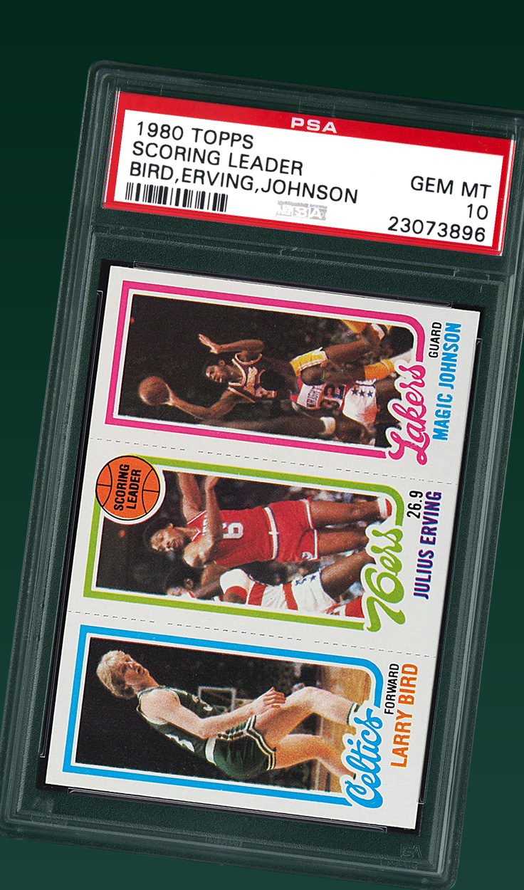 Bird | Dr. J | Magic, '80 Topps Scoring Leader PSA 10