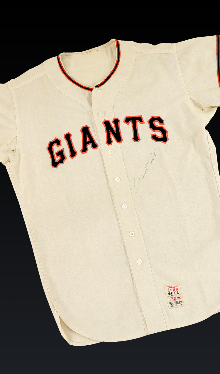 Willie Mays, 1968 Signed Giants Home Jersey
